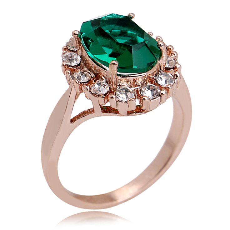 Nova Chegada Verde Opalas 18 k Real Rose Banhado A Ouro Bonito Anel de Humor