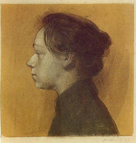 Kathe Kollwitz (1867-1945) - 1898 Self Portrait (color lithograph)