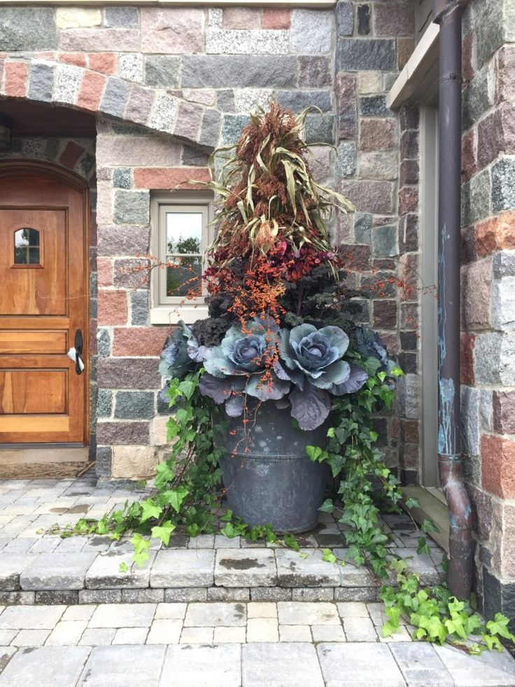 At A Glance: Recent Work | Dirt Simple- edible container garden with cabbages and kale