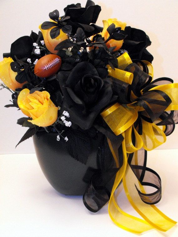 Black N Gold Pittsburgh Steelers Floral Arrangement - love the colors! That is perfect! Just no football reference