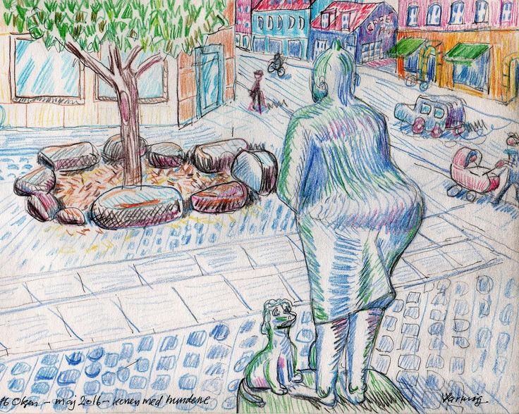 Old woman with dogs - Crayons on paper - 2016 (1600×1280)