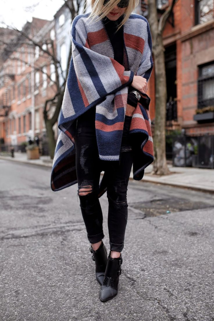striped cape + skinny jeans + booties. Winter style