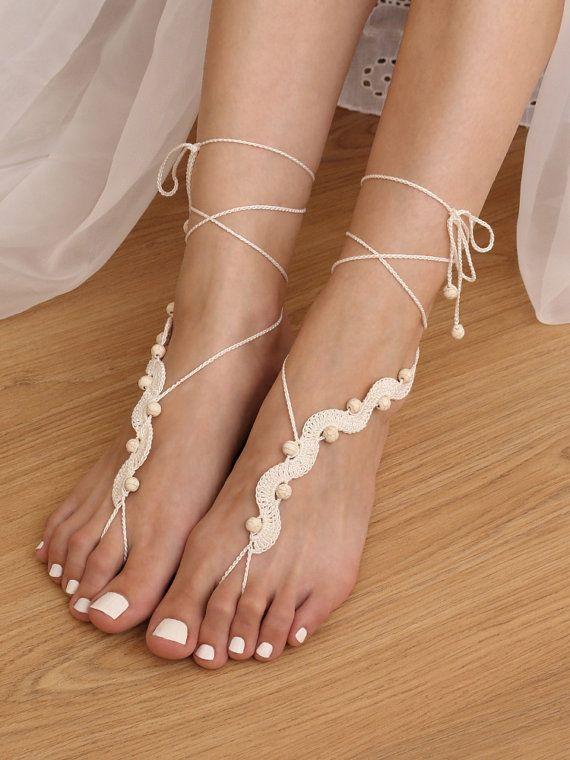 Destinazione matrimonio avorio perline sandali a piedi nudi, spiaggia sandali uncinetto Festival, Hippie Yoga cavigliera gioielli, Boho nudo senza piedi scarpe