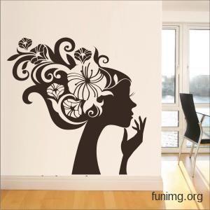 наклейка для стен или трафарет для декора в виде силуэта девушки с цветами