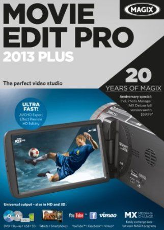 The plus version of MAGIX Movie Edit Pro 2013 comes with a variety of extras such as: 99 tracks, more templates, 2D and 3D video editing, multicam editing, travel route animation, advanced audio dubbing (i.e. Dolby Digital 5.1), etc. Developers at MAGIX worked hard at making the new version even faster and more efficient, and they were successful! AVCHD file import has been improved and is now more than 40% faster. Price: $79.06