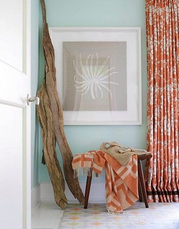 I love blue and orange.  But even more, I love drift wood!  Reminds me of my childhood at the beach and at my grandfather's farm.  He loved to collect driftwood and display it all over the property in creative ways.  @Lauren Ingersoll
