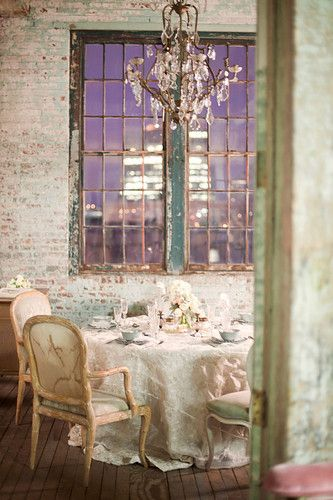 Exposed brick wall with shabby chic decor