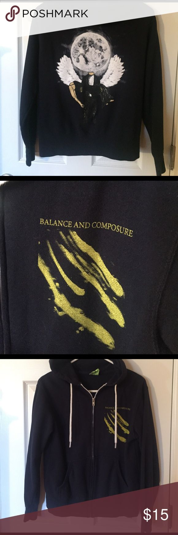 BALANCE AND COMPOSURE BAND ZIP UP HOODIE This hoodie is in like new condition worn only a couple of times. Size small. Zips up and has graphic on the back and front. Great for all music lovers and especially pop punk lovers. Shirts Sweatshirts & Hoodies