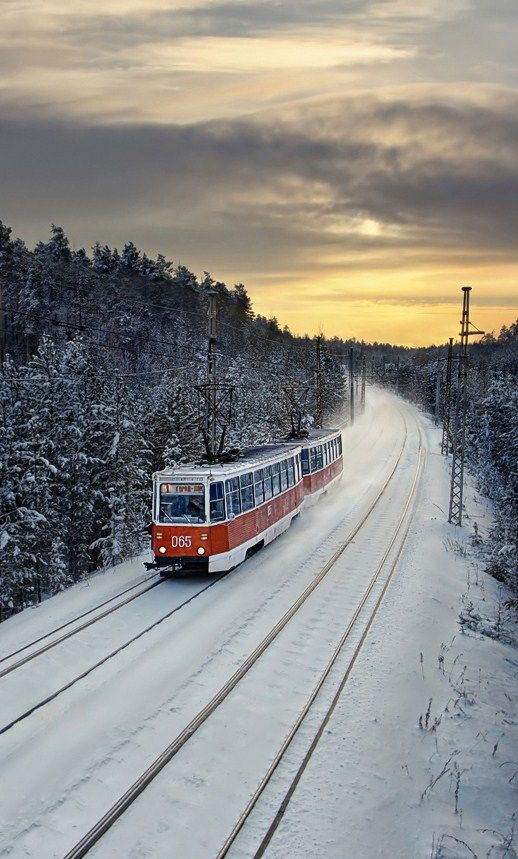 A tram in the town of Ust-Ilimsk, Siberia, #Russia.