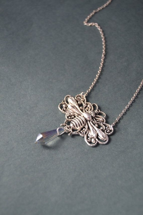 Silver Bee necklace - Ab clear titanium crystal point necklace - Bee jewelry by Valkyrie´s Song