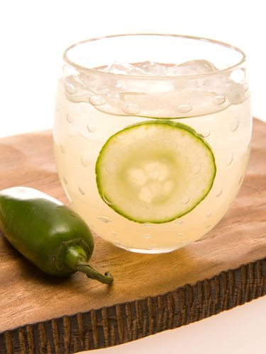 2 oz. Leblon Cachaça ¾ oz. agave nectar  2 cucumber slices ½ lime, cut into wedges  ⅛ in. jalapeño pepper Garnish: cucmber slice Muddle lime, cucumber, jalapeño, and agave in a cocktail shaker. Add ice and cachaça. Shake vigorously and strain into a martini glass. Garnish with a cucumber slice.   - Cosmopolitan.com