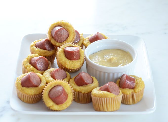 Easy Keto Corn Dog Mini Muffins recipe made with 7 ingredients total! Perfect Super Bowl Snack and also great for kids' birthday parties.