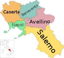 Mappa della regione Campania con le sue province