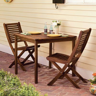 Oxford Garden Capri Bistro Set by Oxford Garden. $408.10. Additional featuresTable: 33.75L x 33.75W x 29H inchesChairs: 17.75W x 24.75D x 37.25H inches (ea)The perfect place to bring your best friend for warm cups of coffee and juicy bits of gossip the Oxford Garden Capri Bistro Set is characterized by simple lines and an undeniable flair. Made from plantation-grown acacia hardwood this table and these chairs are finished in a dark Brown Umber stain for lasting beauty. You'l...