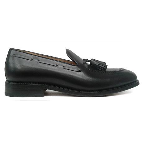 Zapato mocasín tassel negro de Berwick 1707 vista lateral