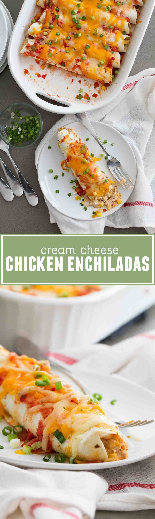 These Cream Cheese Chicken Enchiladas are a family favorite - filled with a creamy chicken and corn filling, and topped with salsa and cheese.