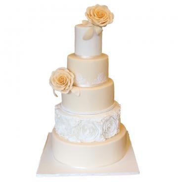 Сватбена торта рози и дантели   My cafe by Ani Boland