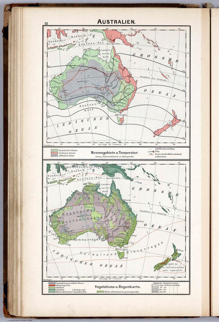 Temperature and vegetation of Australia & New Zealand 1896 [in German]