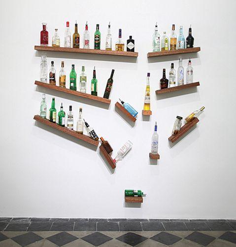 Love These Broken Bar Shelves With Bottles Falling