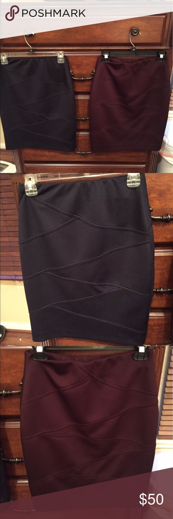 Alfani petite pencil skirts I have to Alfani petite pencil skirts. They are stretchy material one is navy and the other burgundy. I purchased them from Macy's Alfani Skirts Pencil