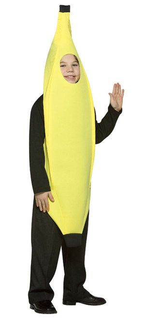 It's always peanut butter jelly time with this awesome Kids Banana costume! This one piece, poly foam costume is easy to wear and sure to be a hit at any party. Pair it with other food themed costumes for a fun group or family costume idea.