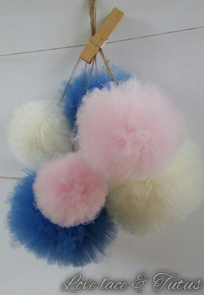Tulle pompoms - handmade