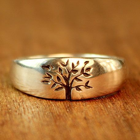 Tree of Life Wedding ring in sterling by TurtleLoveCoArtisan, $200.00