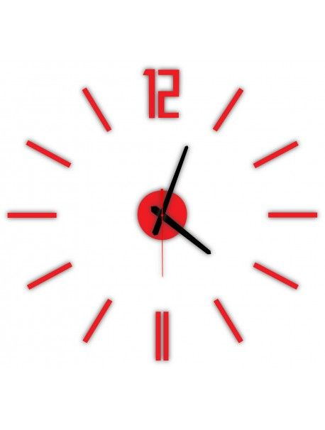 Modern wall clock LUIS, color: red Reference:  X0019-RAL3000-BLACK hands Condition:  New product  Availability:  In Stock  Time to change! Decorating watches will revive every interior, highlight the charm and style of your space. Discover your living with new clocks. Plexiglass wall clocks are a wonderful decoration of your interior.