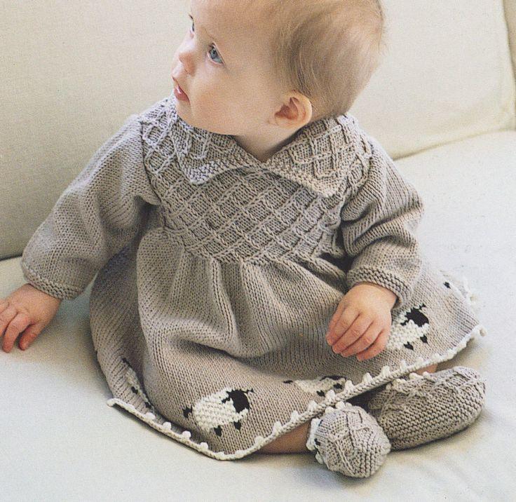 Vintage Smock Effect  Sheep Motif  Dress & Booties Knitting Pattern 6 - 24 mths