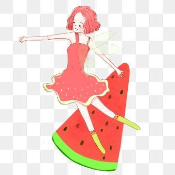 Fairy tail summer. Watermelon fruit elf