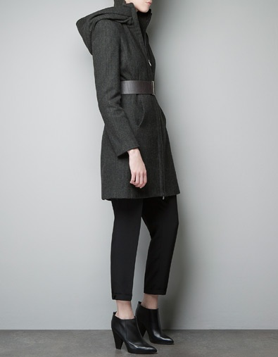 HOODED COAT WITH WRAP-AROUND COLLAR - Last sizes - Woman - ZARA