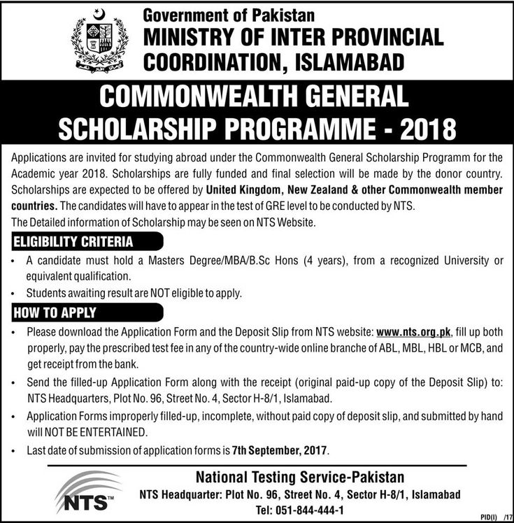 Government of Pakistan ministry of inter-provincial coordination, Islamabad Scholarship programme 2018 Commonwealth General Scholarship programme 2018 Application are invited for studying abroad under the Commonwealth general scholarship programme for the academic year 2018. scholarships are fully funded and final selection will be made by the donor country.   #2018 #COMMONWEALTH #GENERAL #govt. #of #Pakistan #PROGRAMME #scholarship
