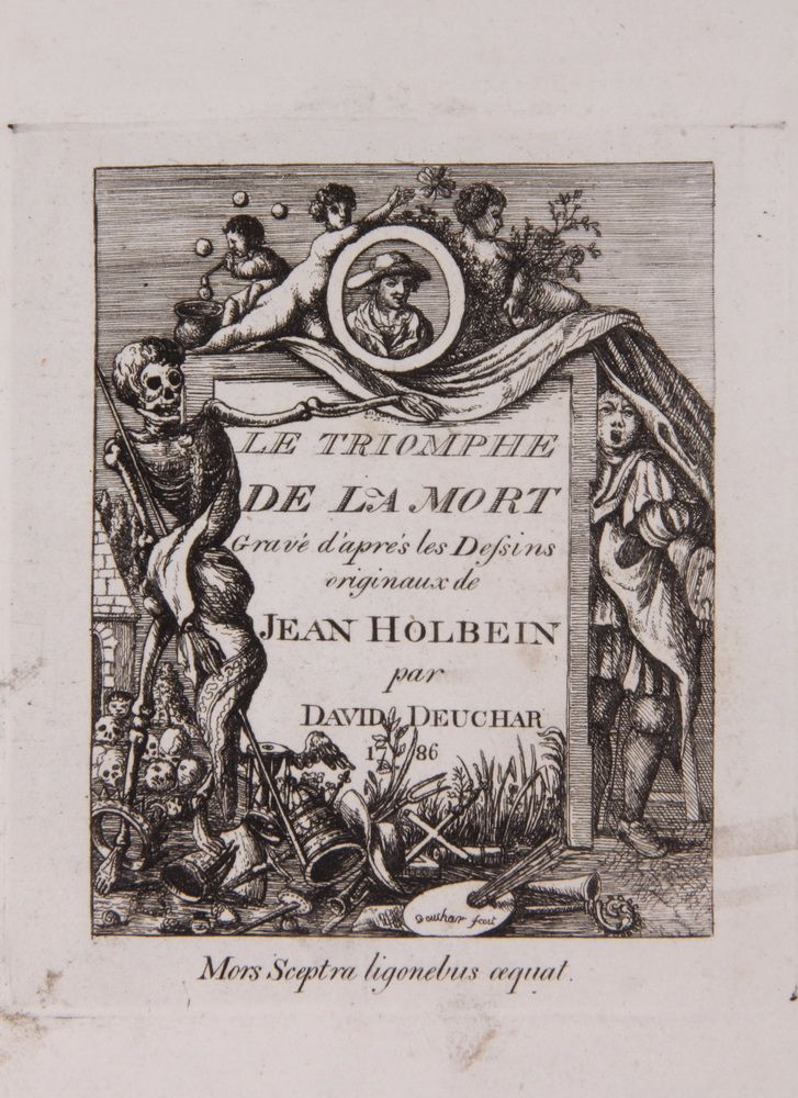 Sale 309 lot 1028 - 'The Dances of Death through the Various Stages of Human Life', 46 copper plates done from original designs of John Holbein, etched by D. Deuchar, London, S. Gosnell, 1803. First printing was 1786, includes French title page from that ediiton. This was the first English edition.
