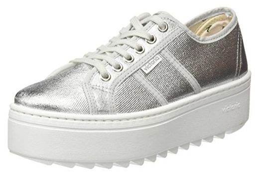 victoria Basket Tejido Lurex, Sneakers Basses Mixte Adulte, (14 Plata), 40 EU