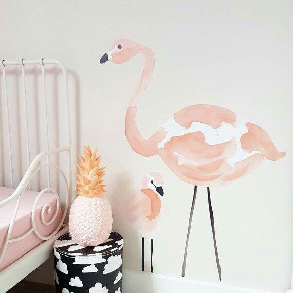 Flamingo muurstickers bij onze dochter Suzan op de kamer. Alles online in de…