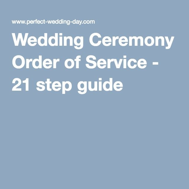 Typical Order Wedding Ceremony