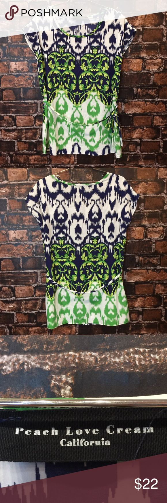 Peach Love Cream women's top! Size medium Green and navy printed top! Has tie belt. Good condition! (WT 1476) Peach Love Cream Tops Blouses