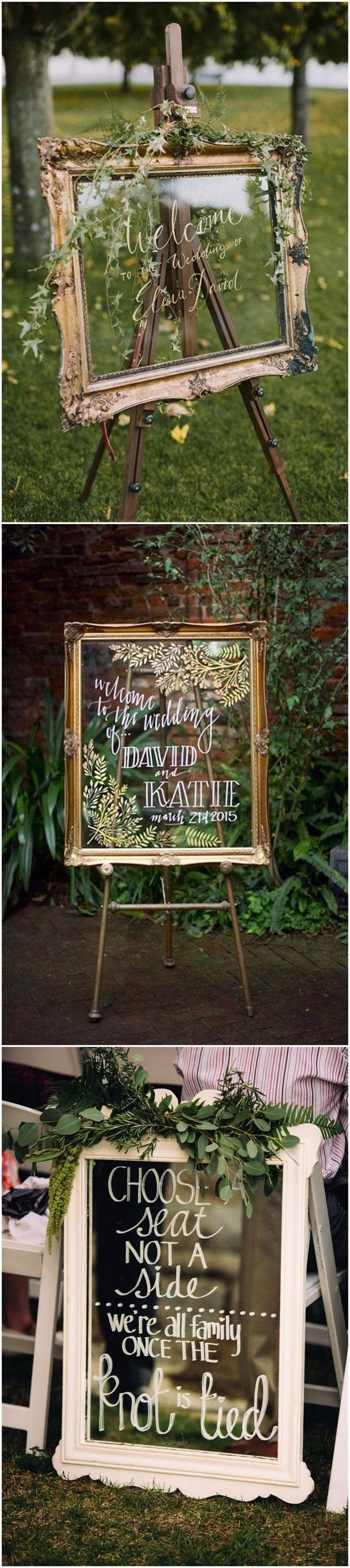 Wedding Decorations » 27 Vintage Mirror Wedding Sign Decoration Ideas » ❤️ See more: http://www.weddinginclude.com/2017/07/mirror-wedding-sign-decoration-ideas/ #weddingdecoration