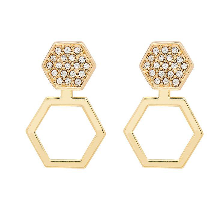 Cleo Ear Jacket in Gold - available in gold and silver. $24. #goldearrings #earjackets #foxyoriginals #goldearjackets #jewelrygift #gift #holidaygift #frontbackearrings