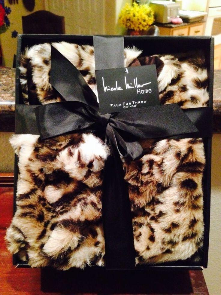 NICOLE MILLER HOME Leopard Cheetah FAUX FUR Plush Accent Throw Blanket  NIB!