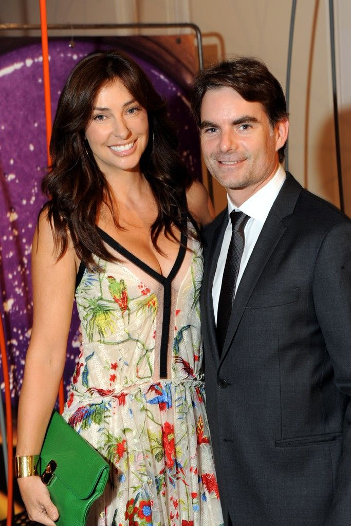 Ingrid Vandebosch in Roberto Cavali with Jeff Gordon.
