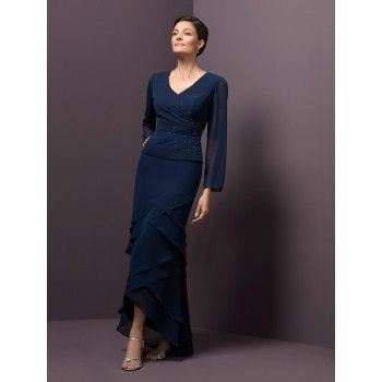 Navy Blue Chiffon Long Sleeves Classy Mother of the Bride Gowns