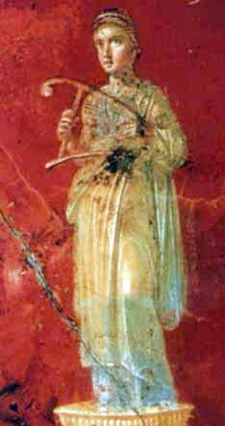 Erato, the Muse of Lyric Poetry. Inn of the Sulpicii. In 1959 during road construction in the Agro Murcine workmen unearthed the remains of a villa about 600m south of Pompeii's Stabia Gate near the ancient mouth of the River Sarno. The triclinium features frescoes of the cycle of the muses.