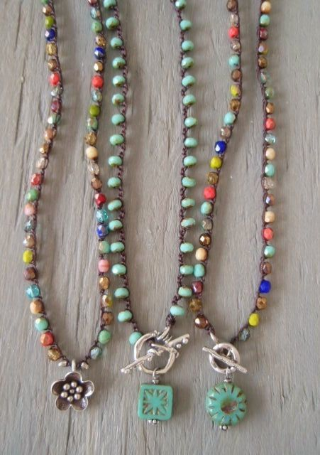 Colorful fall crochet necklace 'Fall Festival' Thai silver front toggle necklace, multi color, rustic, southwestern boho chic, autumn colors