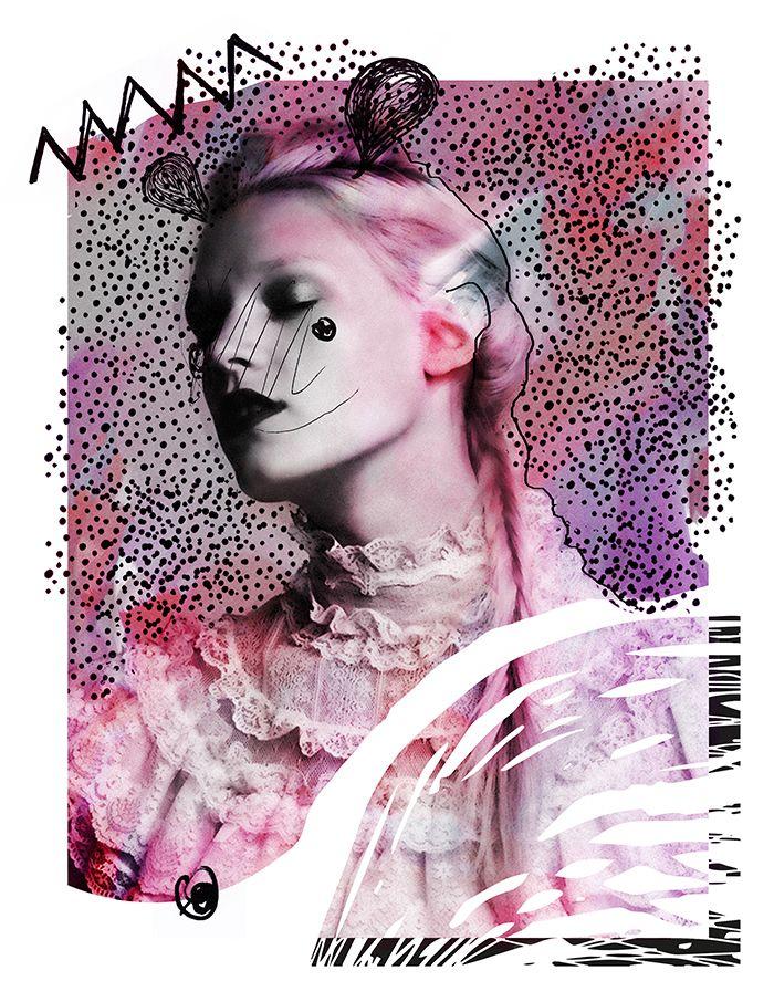 Mixed Media Fashion Collage by Rebecca Coltorti | Model: Leila GoldKuhl Ph: Josh Reed