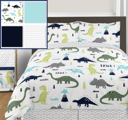 Rawr Blue Green Dinosaur Bedding Twin Full/Queen Modern Kids Comforter Set