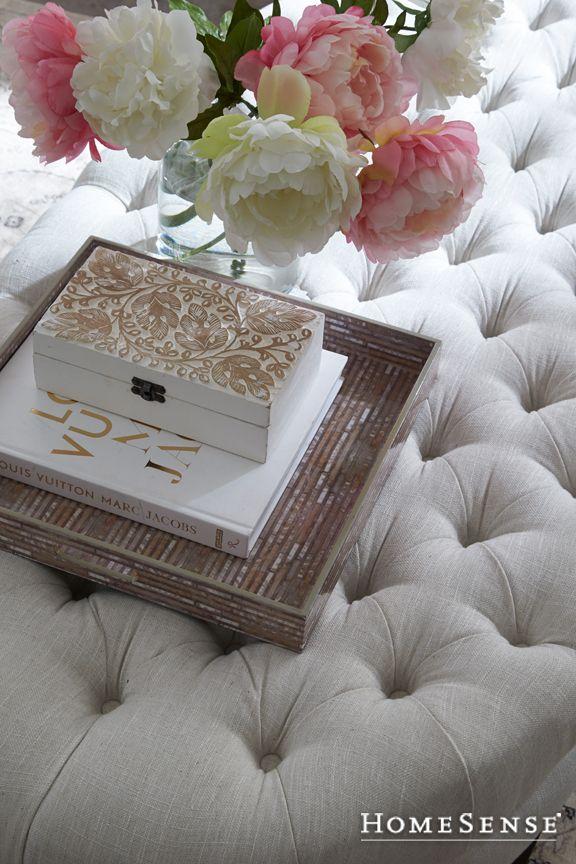 Romance your home! What's more romantic than a tufted coffee table? #MyHomeSense // Vous êtes d'humeur romantique? #MonHomeSense