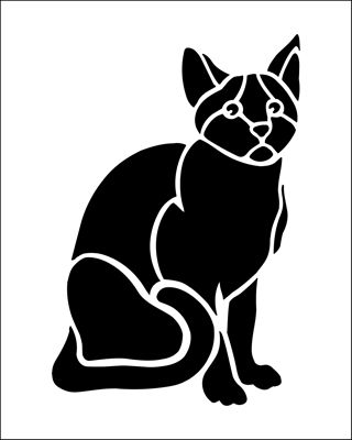 Cat stencil from The Stencil Library BUDGET STENCILS range. Buy stencils online. Stencil code SS23.