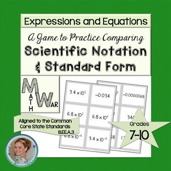 This resource is marked down to $1 on 7/25/17. Students will practice comparing numbers written in scientific notation and standard form.