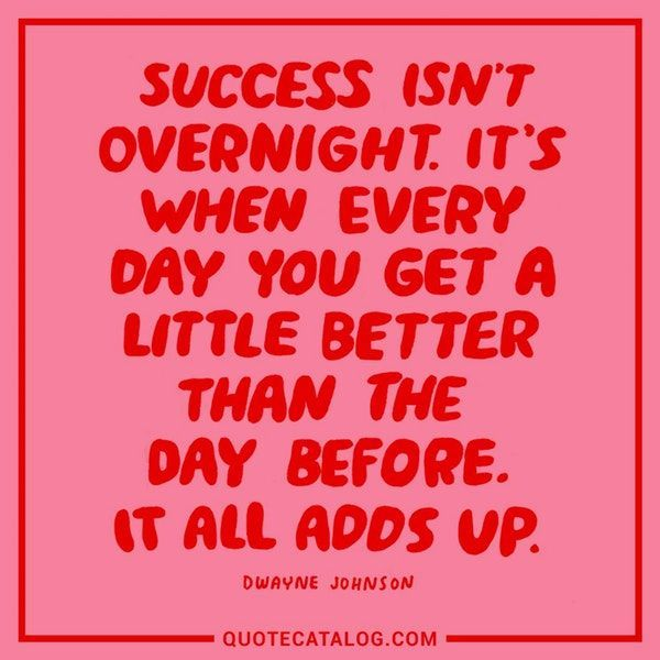 Success isn't overnight. It's when everyday you get a little better than the day before. It all adds up